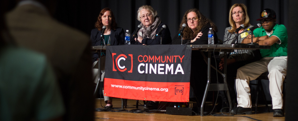 Anne de Mare and Kasey Join Chicago Coalition for the Homeless, The night ministry and Teen Living programs on stage for part 2 of the Community Cinema panel.