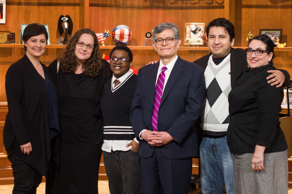 Homestretch Filmmakers with Phil Ponce on the set of Wttw's Chicago Tonight
