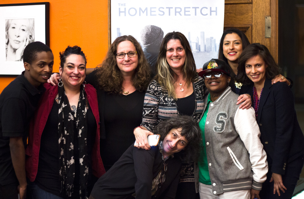 Homestretch Film Team and Subjects pose with Naomi Walker, Beatriz Castillo, and Locsi Ferra of ITVS