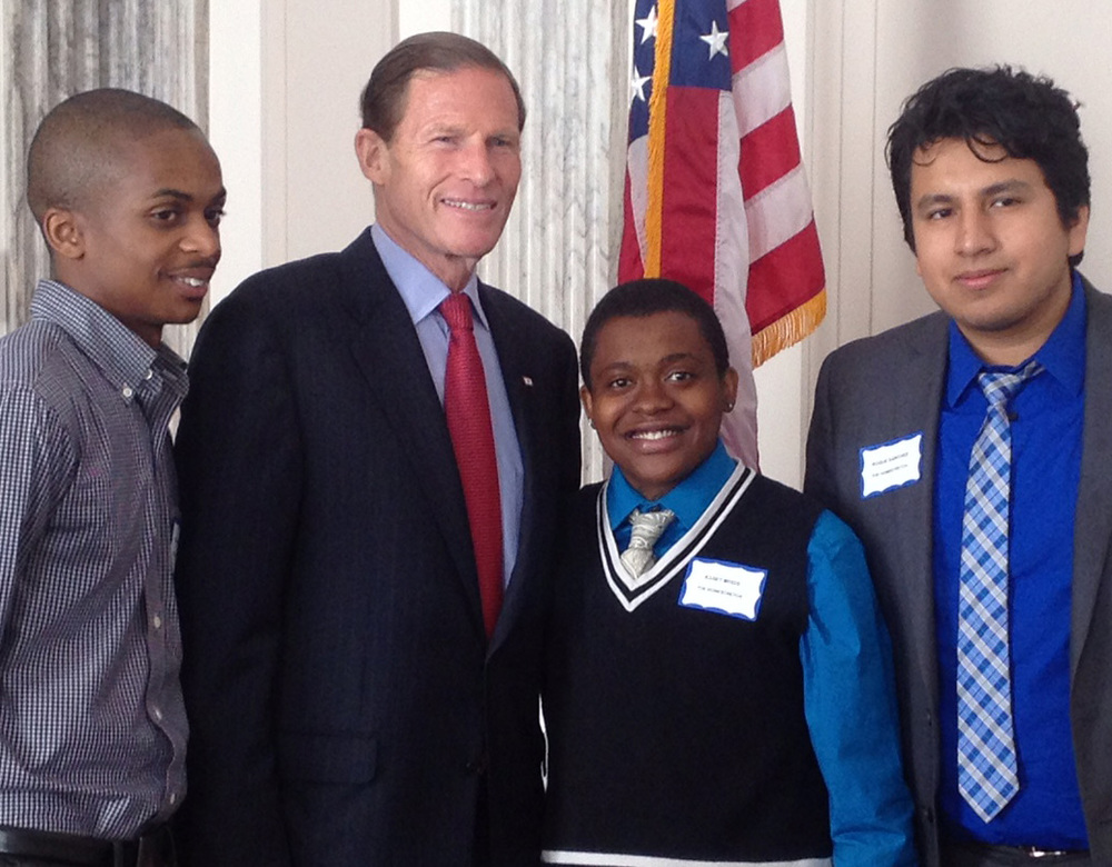 with senator Richard Blumenthal (D-CT) and her fellow subjects Advocating for youth  in washington DC