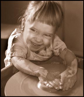 The author's daughter at 30 months. She is having some fun imitating dad. photo © Marvin Bartel