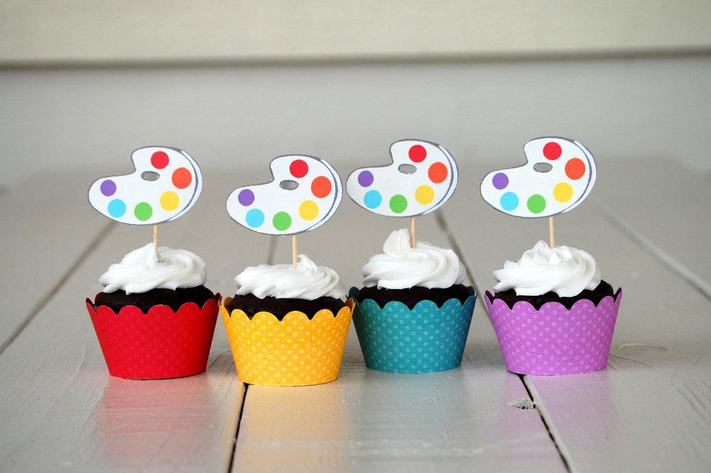 cupcakes w:paint palette toothpicks.jpg