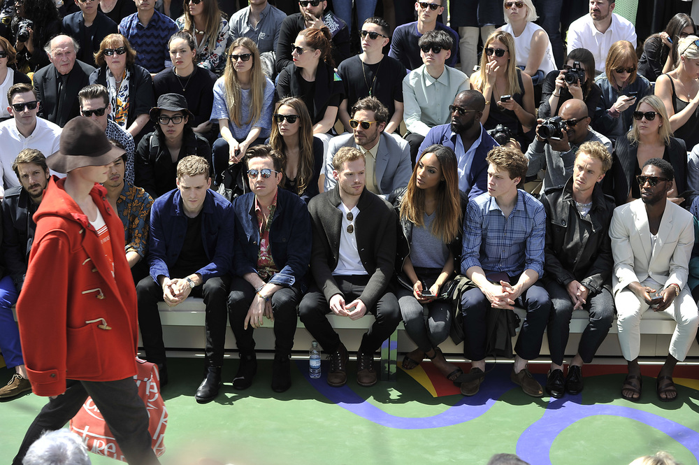 Burberry Prorsum SS15 Show Review, Interview With Christopher Bailey, Inspired By Bruce Chatwin London Collections: Men. Greg James, Nick Grimshaw, Jourdan Dunn, Tom Felton, David Gandy, Tinie Tempah