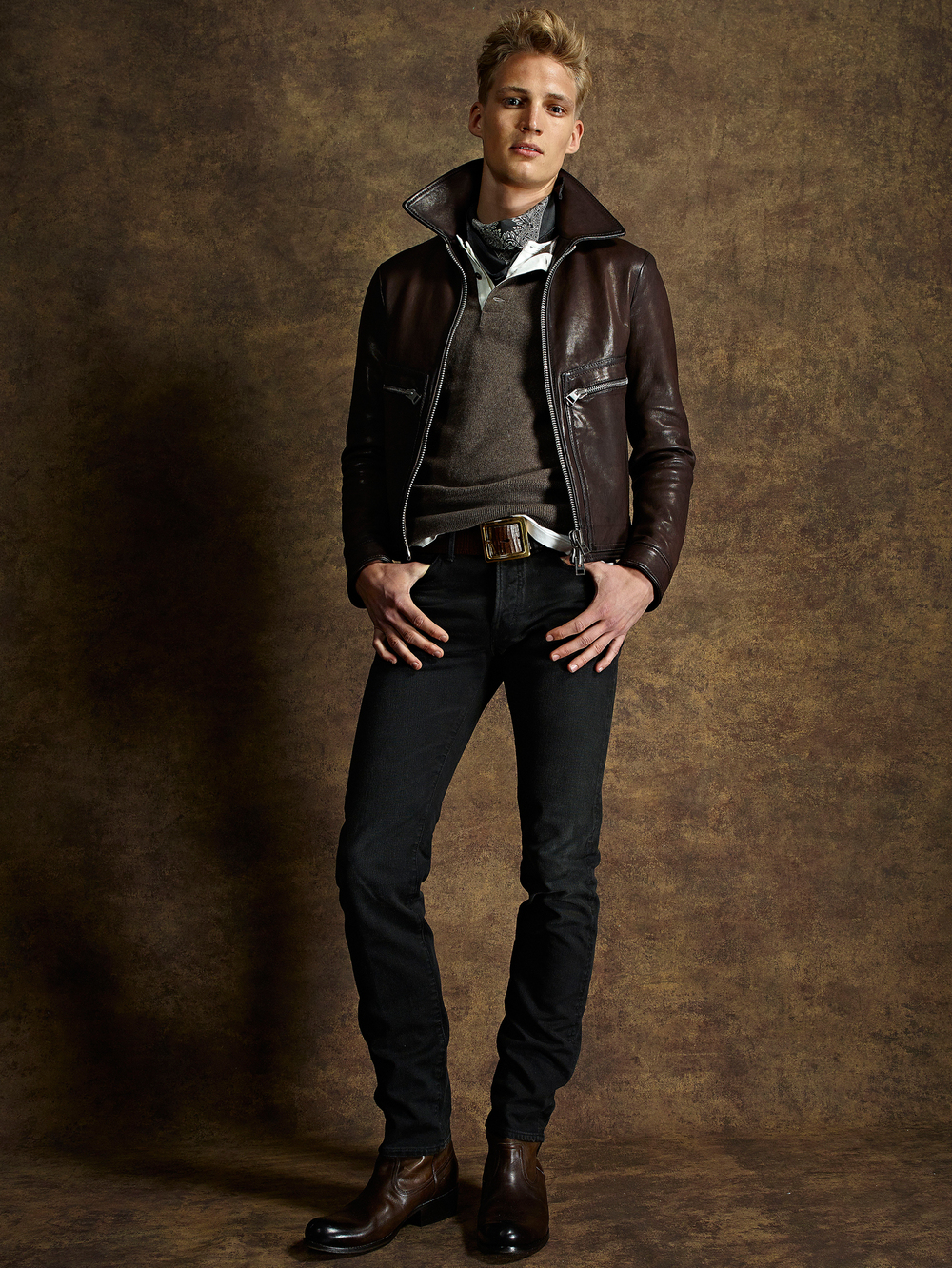 Tom Ford SS15 London Collections Men Jeans Suede Leather Spring Summer 2015