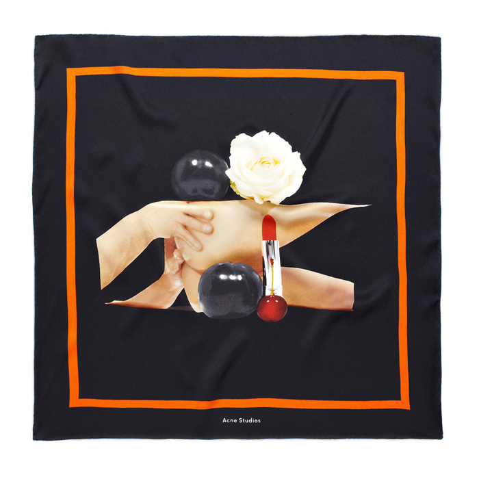 Acne Kingston show red Bosquet Silk Scarf