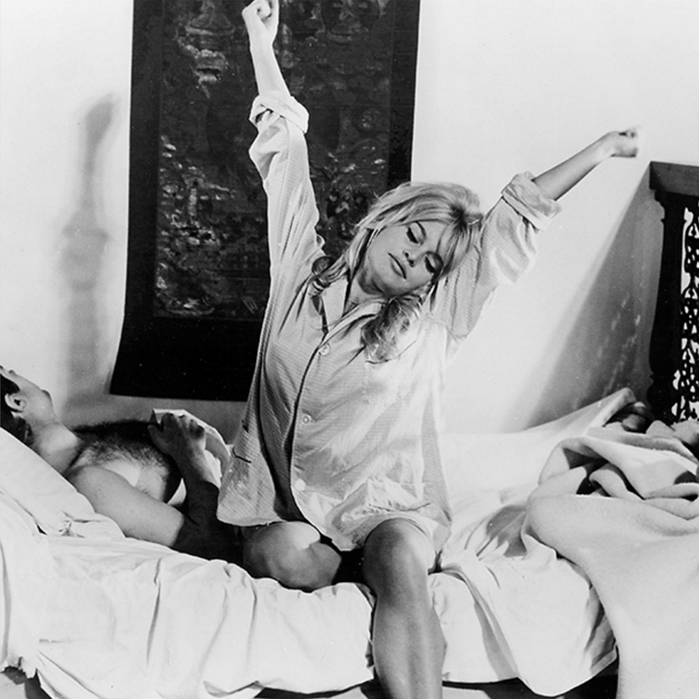 Discover and Escape Phoebe McDowell Brigitte Bardot in bed wearing pyjamas