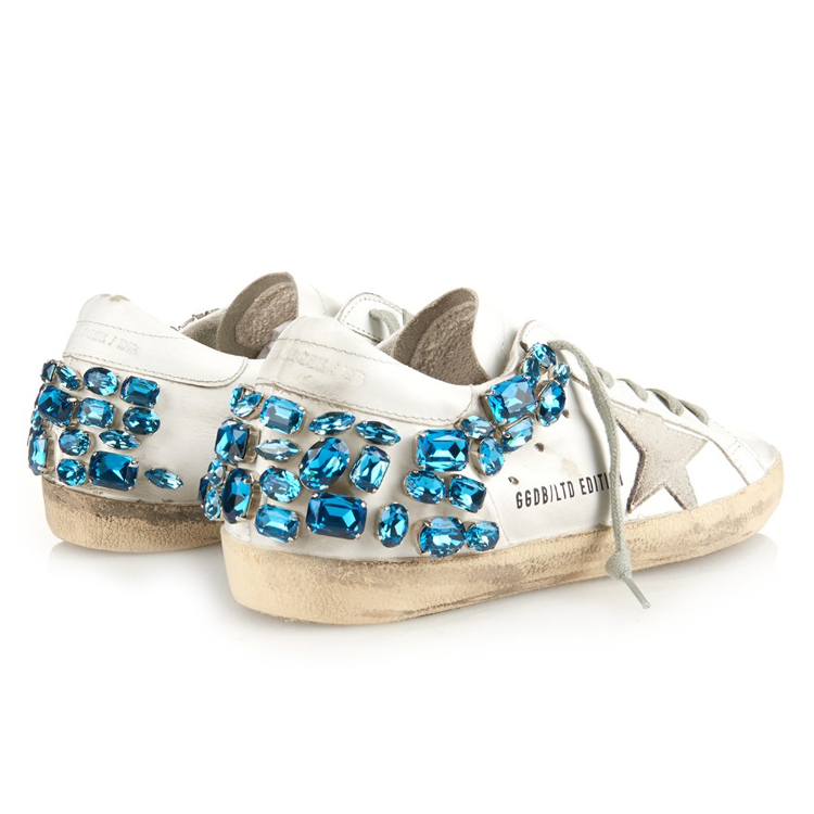 Golden Goose Deluxe crystal-embellished leather trainers