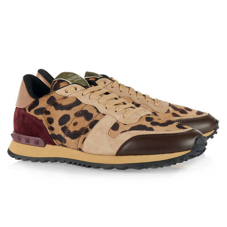 Valentino Printed calf hair suede sneakers