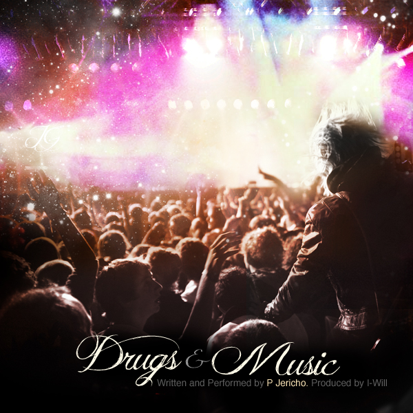 """Song Cover I designed for an artist under  Grand Cru Management . The song is called """"Drugs & Music"""""""