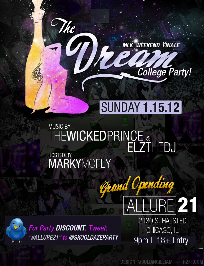 Flyer design from a while ago for an 18+ party in Chicago, IL    Client: SKOOLDAZE     design duration: 1hour30min