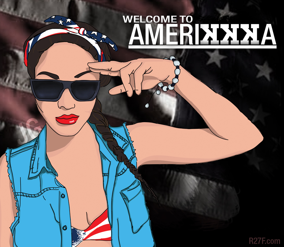 Welcome to Amerikka. ft. the beautiful  Leanna Re'     Fun Illustration