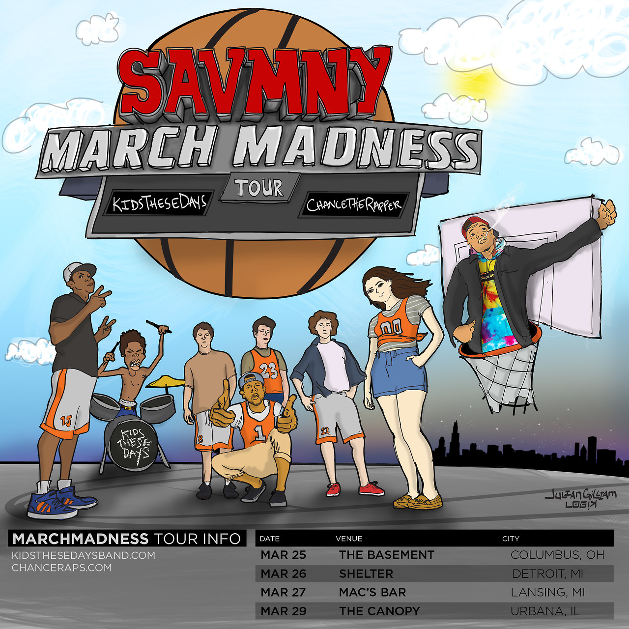 Illustration I did for @KidsTheseDays & @ChanceTheRapper's March Madness Tour.