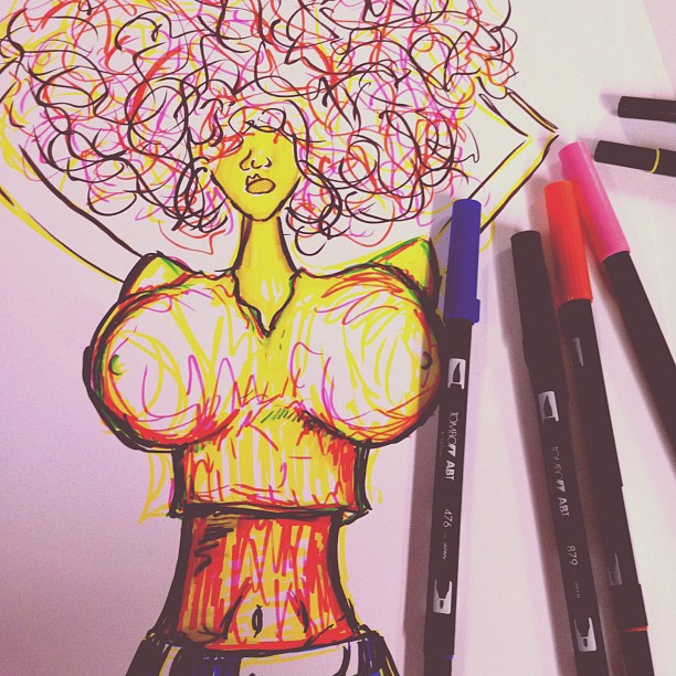 Yo, I met this chick. She hella bad & got tig 'ol bitties.   #sexy #boobs #art #markers