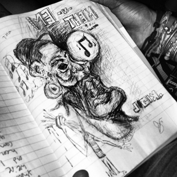 Me -n- Them.    Inspired in the studio. Thempeoplemusic.tumblr.com   #art #music #sketch #chicago