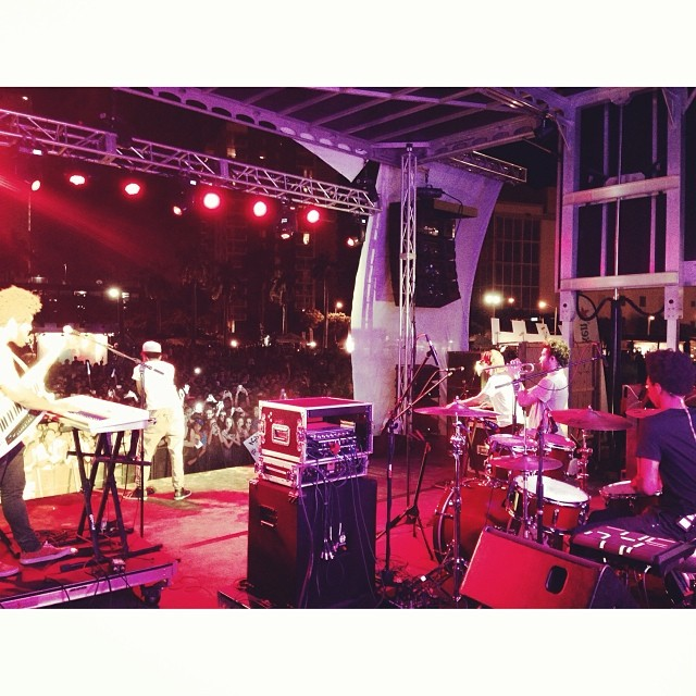 On stage with @chancetherapper @realcottontale @stixjams @donnietrumpet.   The energy bro…  #artbaselmiami2013