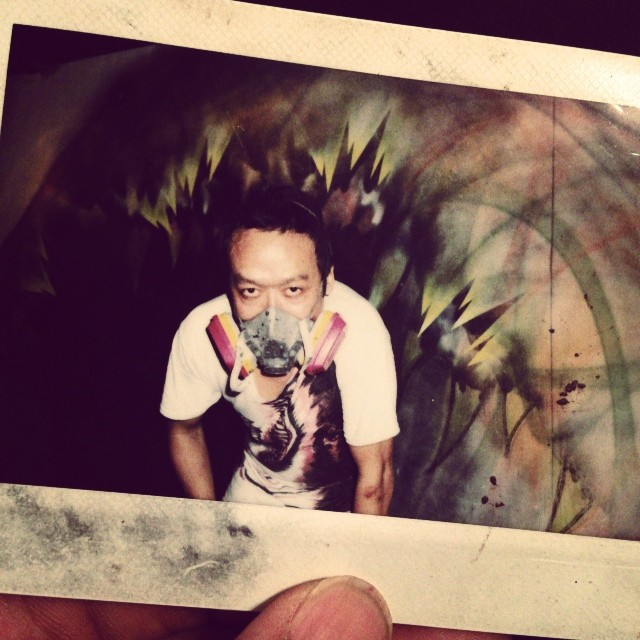 His tag washed away, the only night it rained during #artbaselmiami2013.     #polaroids #graffiti #art #tbt