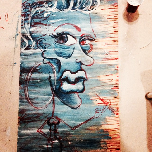 Feelin' like kool-aid in a wine glass. With your fine ass.    Work in progress #painting on wood, #art and stuff