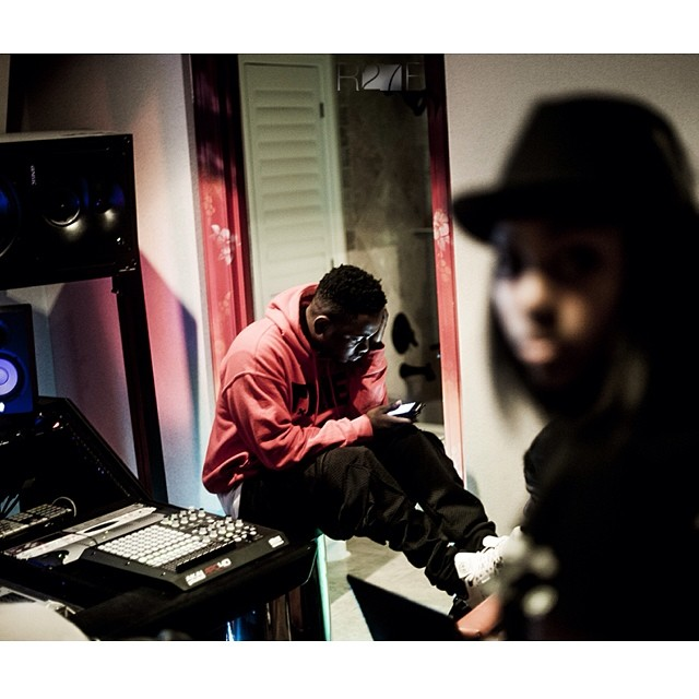 "Photo I took of @kendricklamar in a Dallas studio working on ""Backseat freestyle"". #tbt 2012   #goodkidmaadcity #kdot #hiphop #tde #5D"