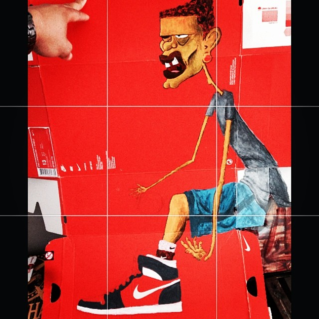 Paint on #Nike shoebox.    work in progress.   #painting #art #sneakers #basketball #yellow #kicks
