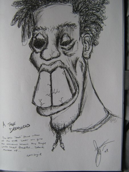 Ink sketch from freshmen year at Southeast Missouri State… Dread Head