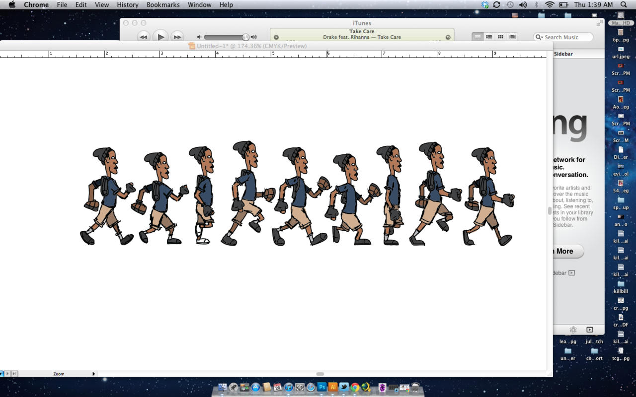 late night animating… walking sequence for my motion graphics final