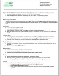 Click to view Kidz Club Program Lead Job Description