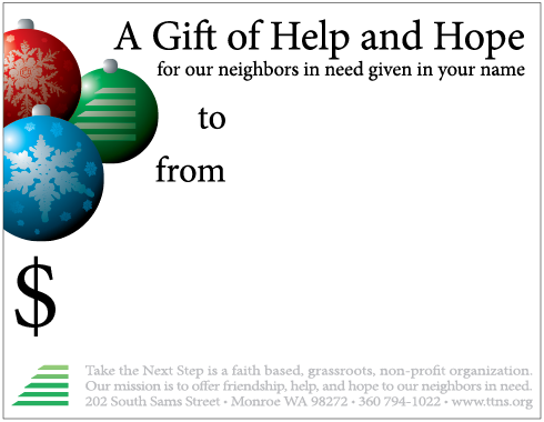 Click to download this is a four-up gift card set. Reverse has overview of our programs.  Donors can download from our website's  Christmas Donation Page  or you can use it to print and send acknowledgement to the gift recipient on behalf of the donor.