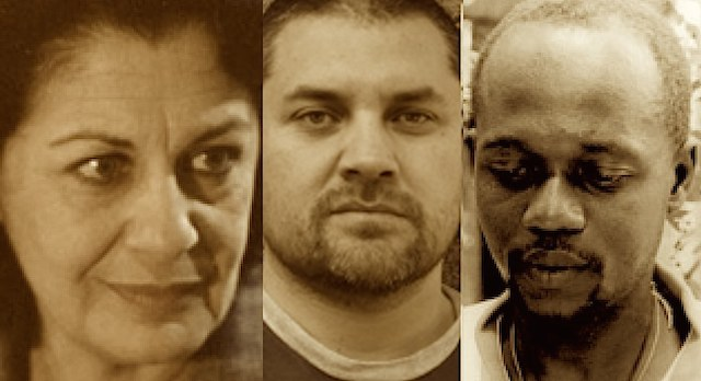 Photo of Jalila Baccar (Tunisia),  Guillermo Calderoón (Chile), and   Frantz Dominique Batraville (Haiti). Courtesy of PEN.org.