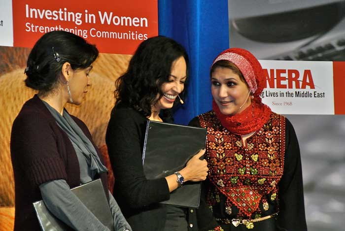 (L-r) Actors Nora Achrati and Salma Shaw join ANERA's Rania Elhilou after describing the importance of ANERA's support. Staff photo D. Hanley