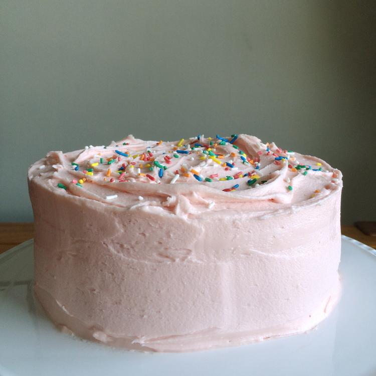 Vanilla Birthday Cake With White Chocolate Buttercream And The