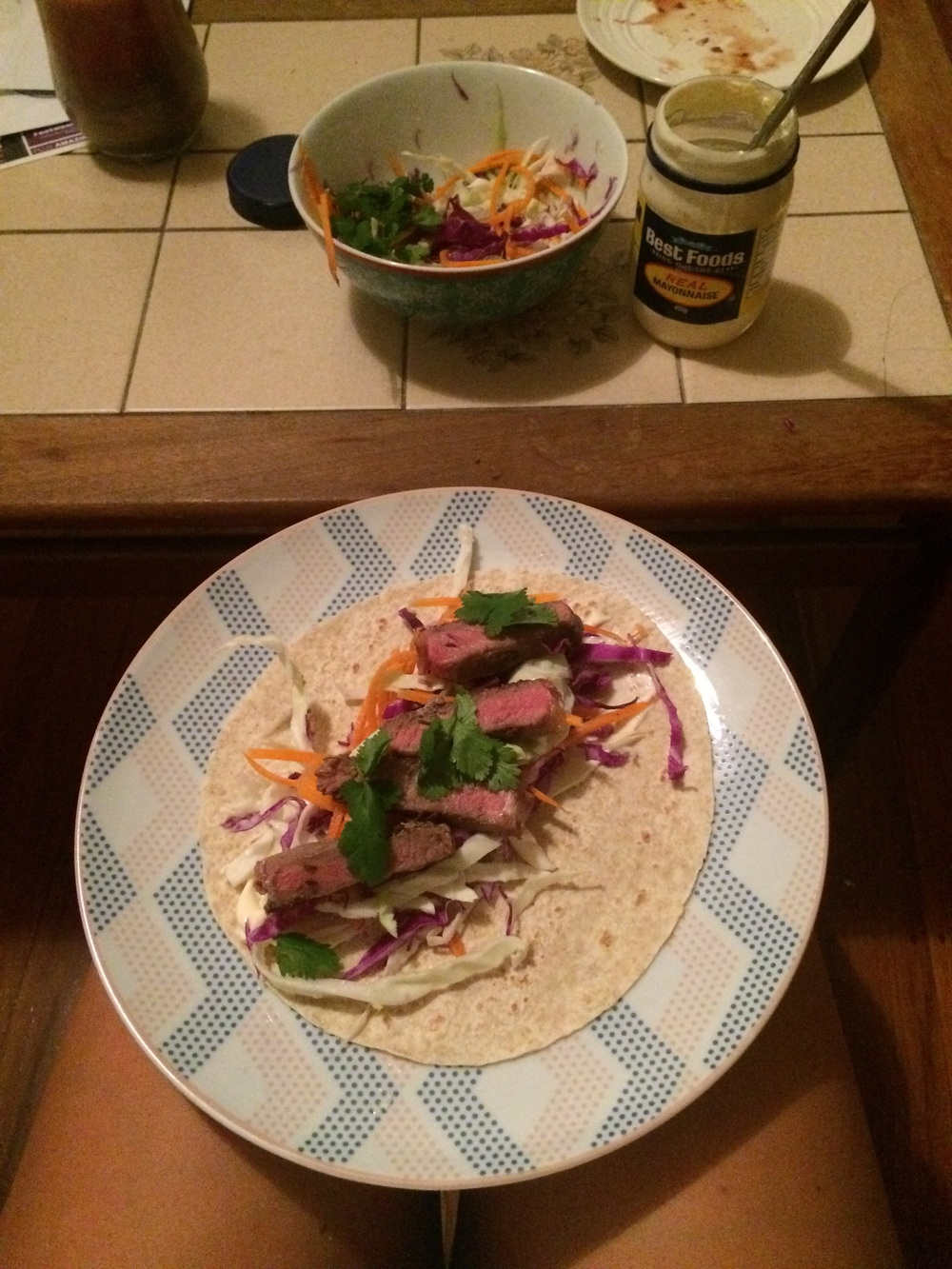 One of my delicious tacos feat. A photo bomb from my mate Best Foods.