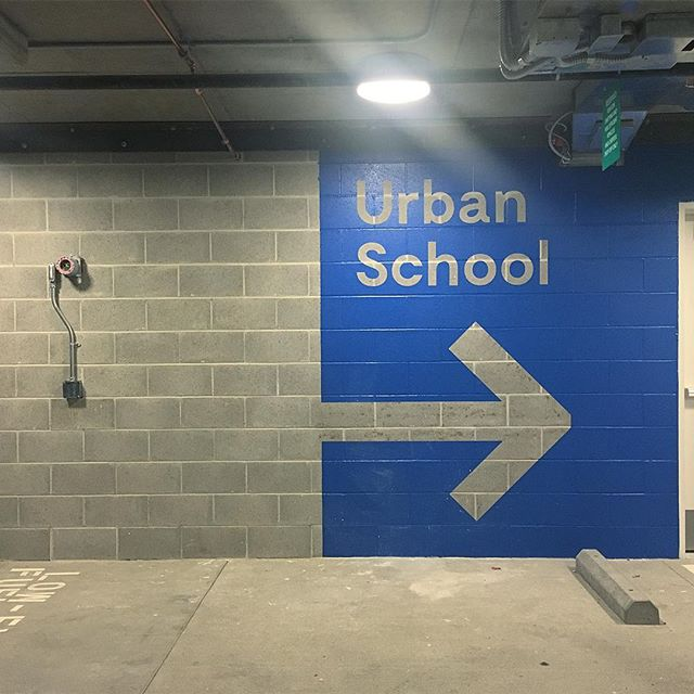 New parking structure graphics for urban school of San Francisco with Pfau Long Archtecture.