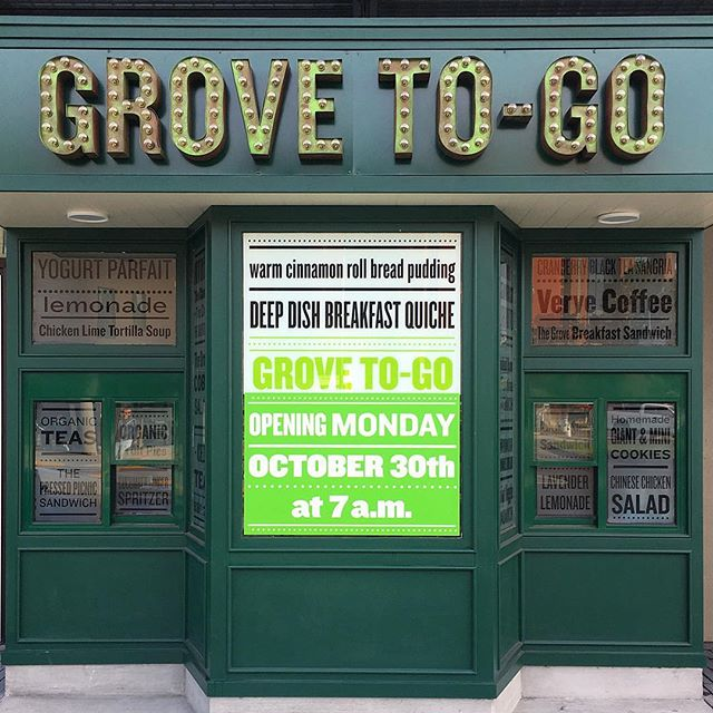 Grove To-Go window branding and signage.