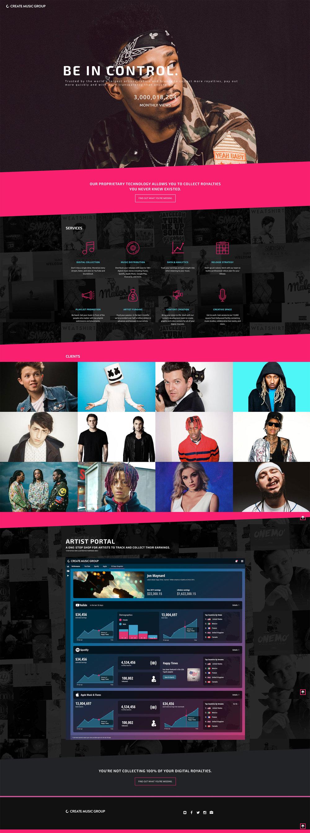 Create Music Group - Website Re-design