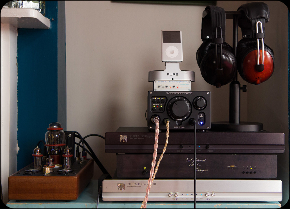 "My personal listening station at home, and ""show rig"" on the road.  Decware Taboo Mk III, Violectric V281, Theta Progeny a and Basic IIIa, and the EAD DSP 7000. Check out that monster Double Helix Cables Molecule Extreme XLR cable.  Nothing but pure signal!"