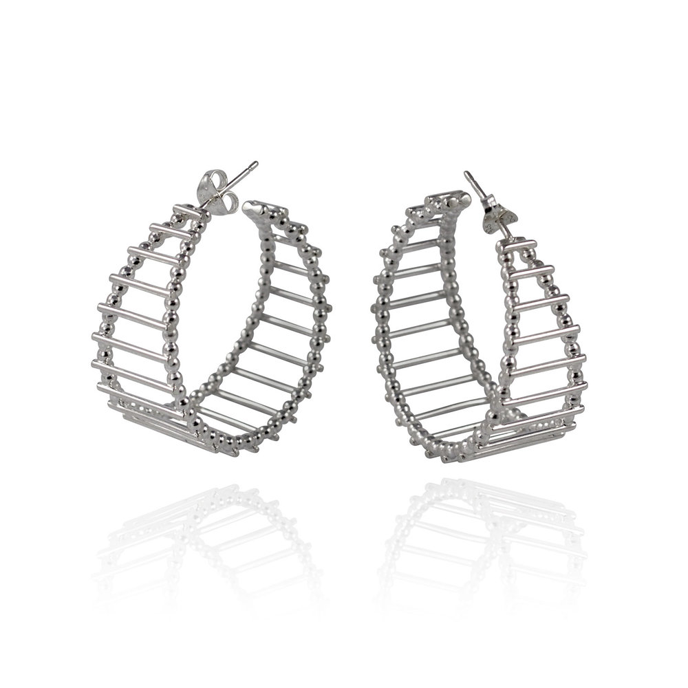 Cara Tonkin Silver Theda Stripe Hoop Earrings uE2wH4bu