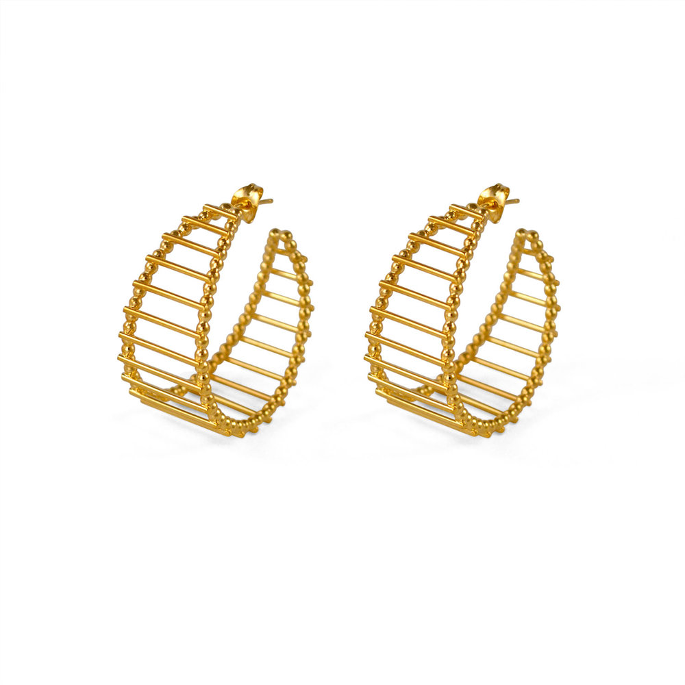 Cara Tonkin Gold Theda Stripe Hoop Earrings