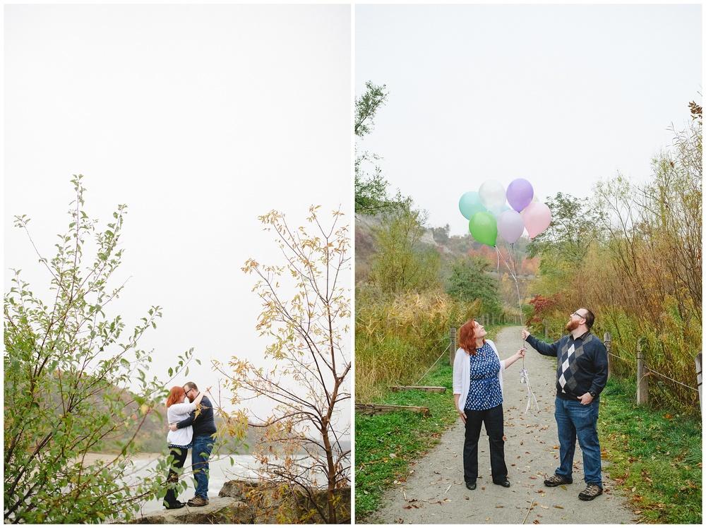 Arynn Photography, Scarborough Bluffs engagement shoot, Toronto Weddding Photographer, Durham Wedding Photographer, Geeky Engagement, UP Engagement, balloons