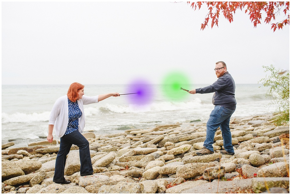 Arynn Photography, Scarborough Bluffs engagement shoot, Toronto Weddding Photographer, Durham Wedding Photographer, Geeky Engagement, Harry Potter engagement, Harry Potter Wands, Wand duel