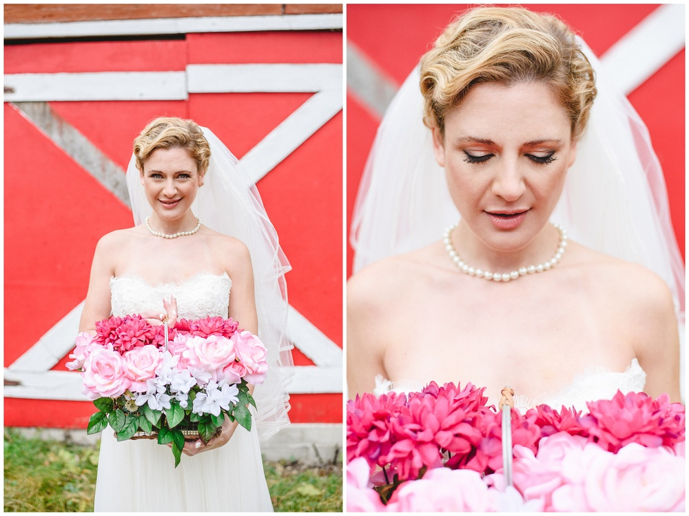 Arynn Photography, Styled Wedding, Toronto Weddding Photographer, Durham Wedding Photographer, Wedding Planner Magazine, pink wedding bouquet, basket flowers, bridal pearls, barn wedding