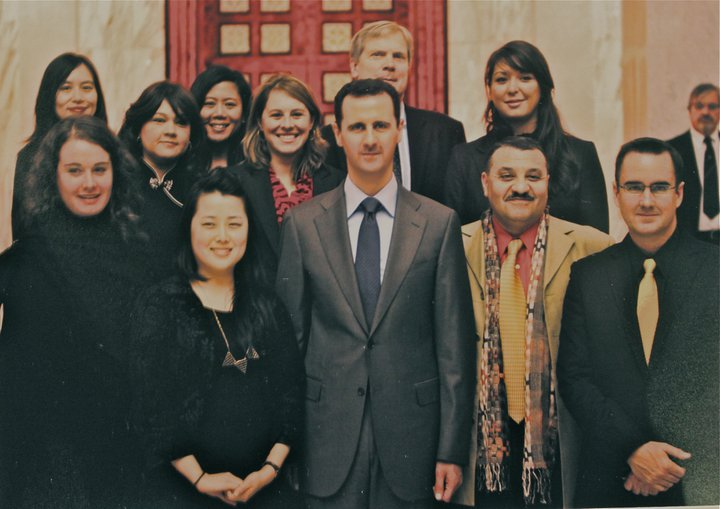 Met his Excellency Dr. Bashar al-Assad (بشار الأسد,) the President of Syria today for lemonade and a discussion about education, public/private partnerships, infrastructure, and sustainable low-income housing initiatives… loving damascenes, the road to iraq, palmyra, feeling the warmth of people, tolerance, and finally, the sun.