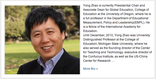"""I met Yong Zhao today, a man with amazing insight into global economics related to changing the set of """"employable skills"""" and is shaping education to prepare young people for a new way to learn and work. Be different, be great, and do what you love."""