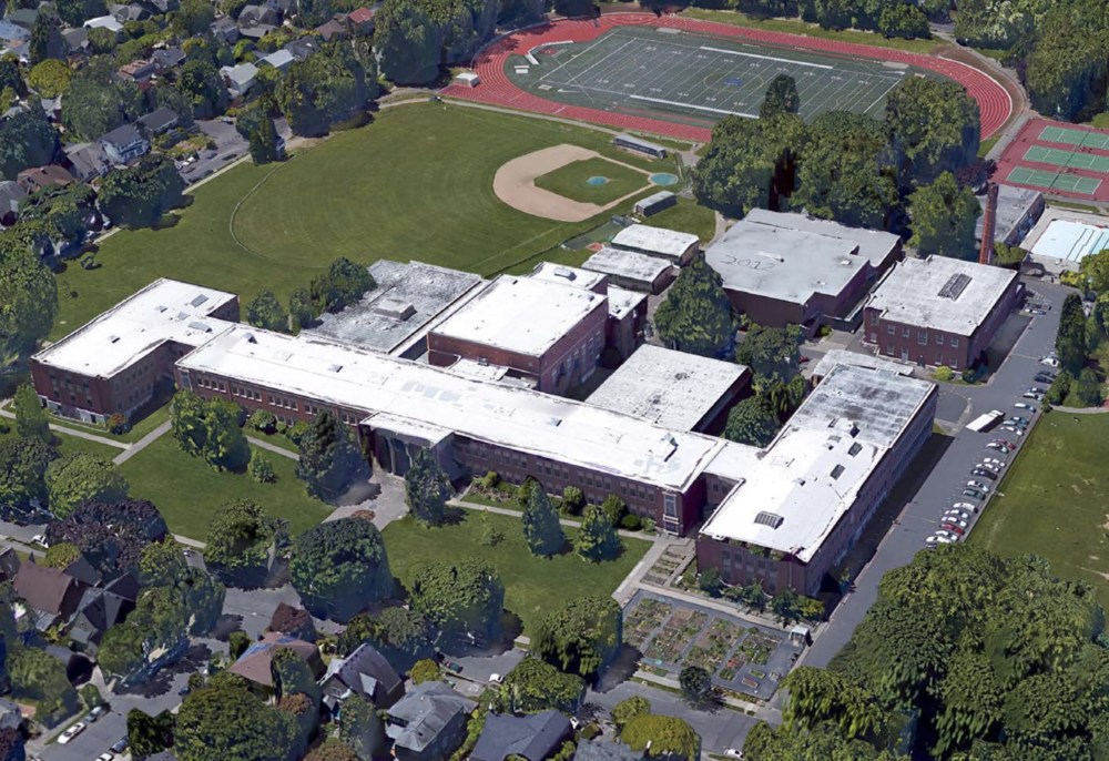 An aerial view of Grant High School in 2014, before construction, via Google Maps.