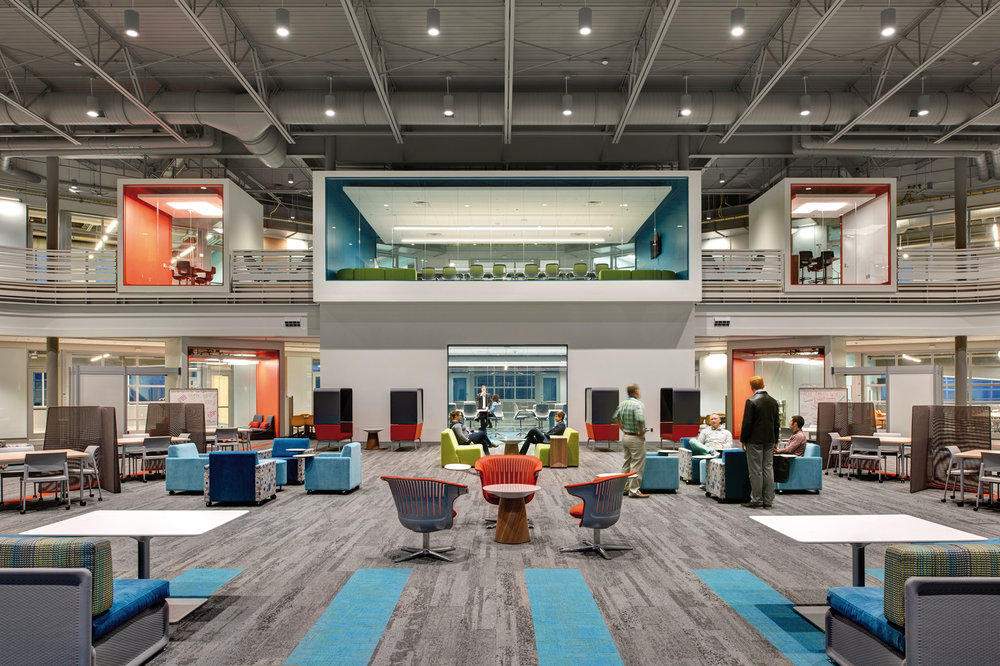 Waukee APEX's coworking space in the center of the building feels like a corporate environment.