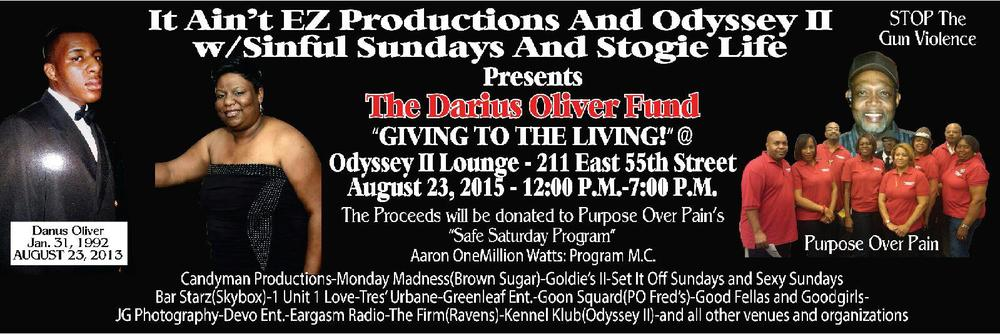 Save the date and come out and join Purpose Over Pain at the Odyssey II Lounge. This is an opportunity to let your hair down and kick your feet up while you extend your financial support to benefit our youth.