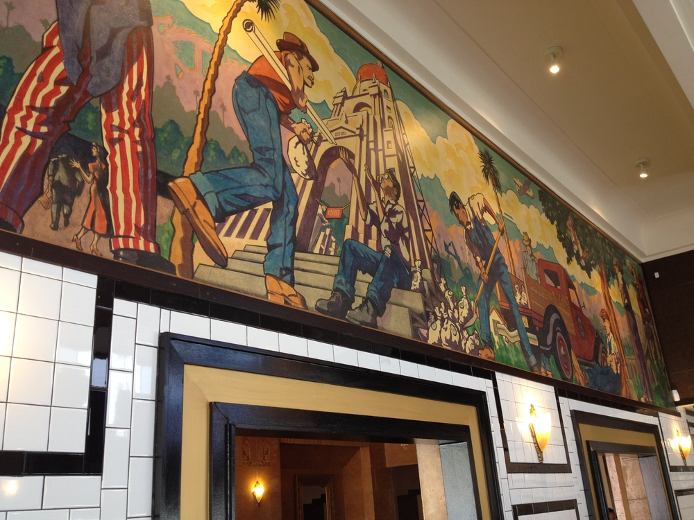 Detail, City Hell Mural, originally painted in 1990.