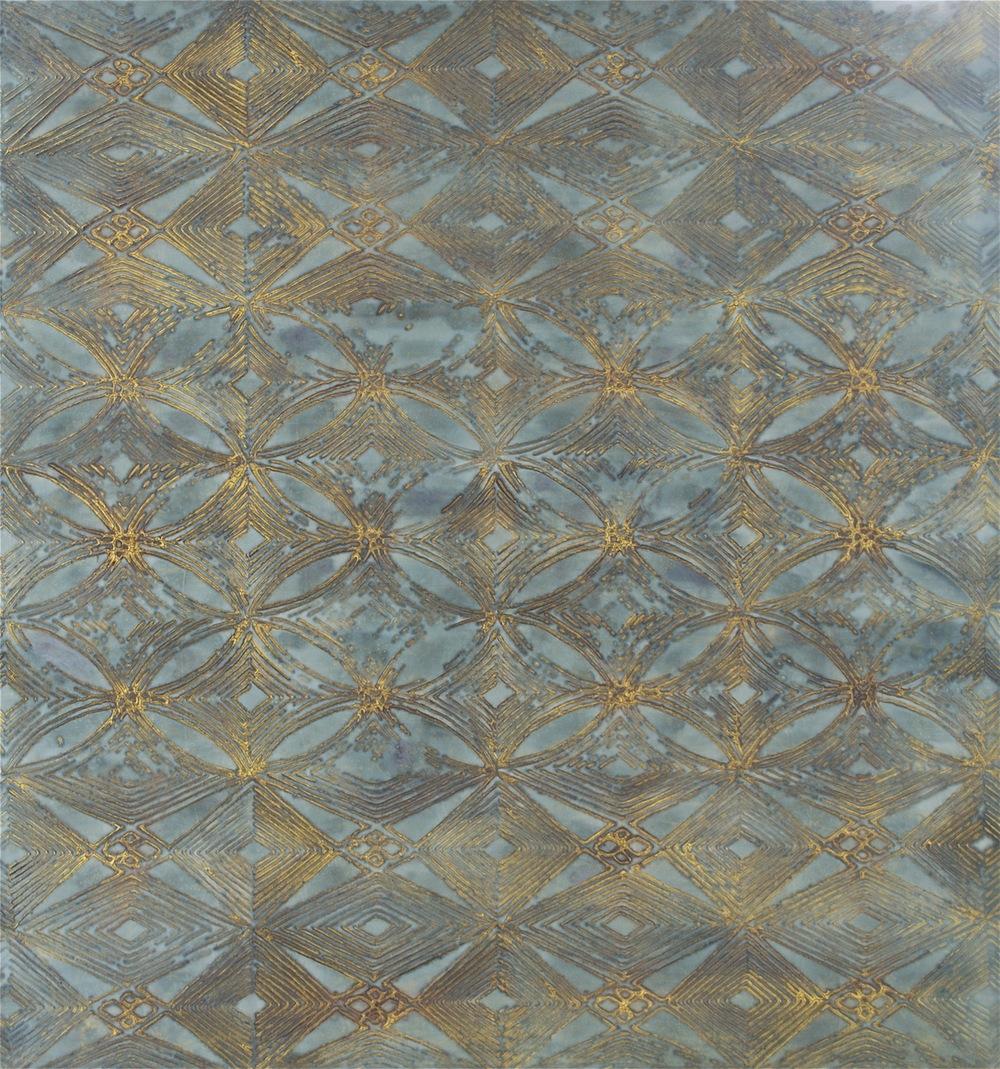 """Kaleidoscope Skies 35"""" W x 37"""" H x 2"""" D Acrylic & oil on archival board"""