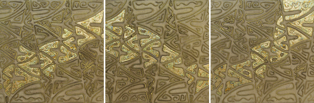 "Kula (Hawaiian - Gold) 1 - 3 @ 12"" x 12"" x 2"" Acrylic & oil on archival board"