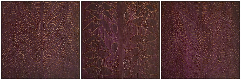 "Purple Pule (Hawaiian - Prayer) 1 - 3 @ 12"" x 12"" x 2"" Acrylic & oil on archival board  # 1 & # 3 are the ancient Maori symbol for water"