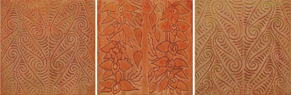 """Nāranj (Persian - Orange) 1 - 3 @ 12"""" x 12"""" x 2"""" Acrylic & oil on archival board   # 1 & # 3 represent the ancient Maori symbol for water."""